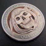 'Grim Reaper' clad coin carving USA quarter $ 2000 2a