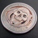 'Grim Reaper' clad coin carving USA quarter $ 2000 3a