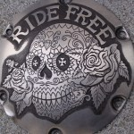 'Ride Free' hand engraved H-D Sportster derby cover 3 (kleiner voor avatar)