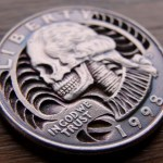 Skulled 1998 Washington Quarter $ clad coin carving 4