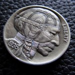 'Vintage Racer' Hobo nickel (1936 USA Buffalo 5 Cents nickel) 6