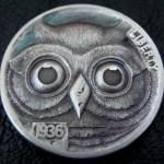 'Owl' Hobo nickel carving 1aa