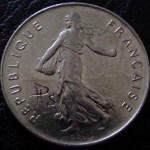 'Skulled 1974 French 5 francs coin' backside 1974 French 5 francs+signature