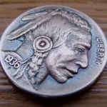 'The Warrior' Hobo nickel-coin carving 1936 USA Buffalo 5 cents 7