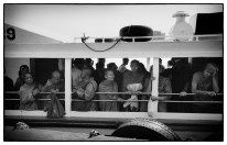 monks in on boat