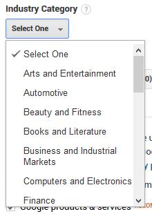 Google Analytics Industry Category