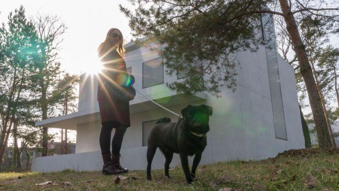 Pauli und ihr Frauchen vor einem der Meisterhäuser in der Sonne
