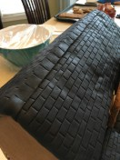 Closer view of the black strip of fondant I used to cover where both sides of the roof meet.