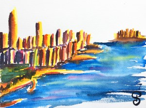 Aquarelles NYC - Hudson River