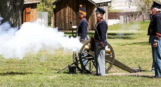 cannon fire at a fort