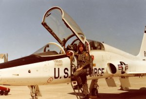 Susan in front of her T-38