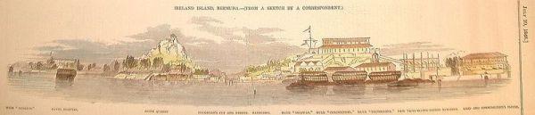 HMSS Dromedary among hulks at Bermuda.