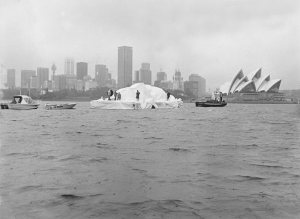 The giant 'iceberg' nears the Opera House.