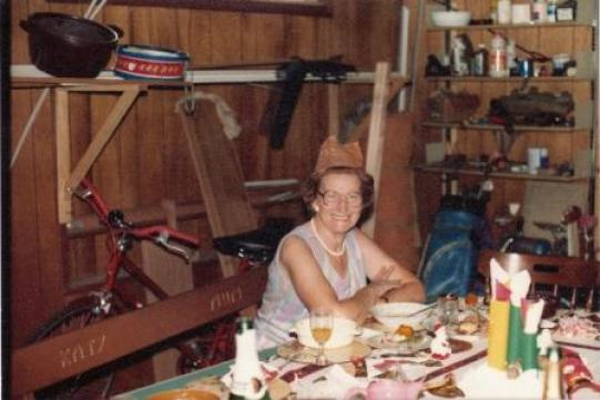 The last Christmas with Mum; so hot we ate in my sister's basement .garage!