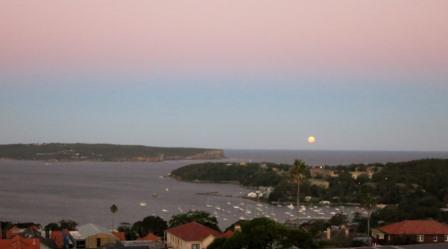 Full moon over Sydney Heads