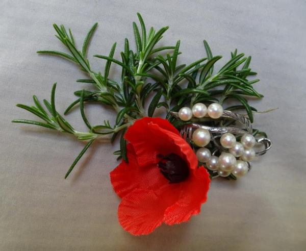 Rosemary and a scarlet poppy for Remembrance Day.