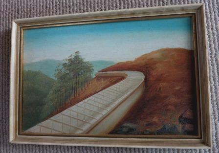 The newly constructed Tarraleah Canal pictured in one of  the Tasmanian  paintings.