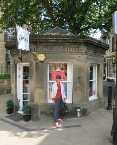 Outside the sweetest little dress shop.