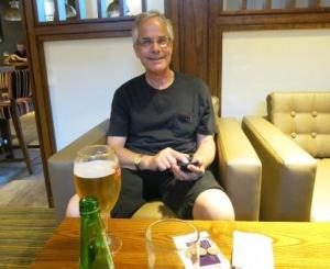 Aussie Bob enjoys a beer at the end of a long, hot day!