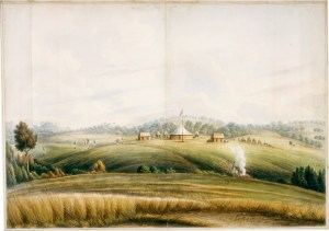 The encampment at Bathurst, painted by John Lewin in 1815