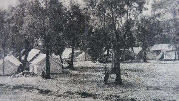 Camping ground, Ulverstone beach, 1950's