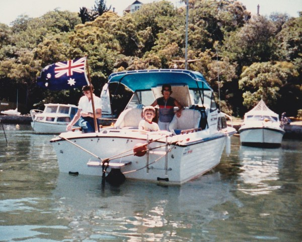 Sixpence at her mooring in Mosman Bay.