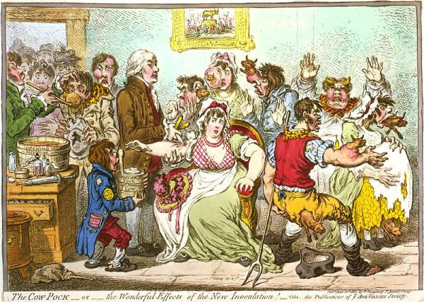Opponents of the smallpox vaccine produced cartoons to alarm the populace!
