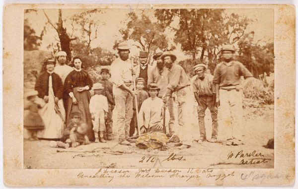 The lucky miners who found the famous Welcome Stranger gold nugget.
