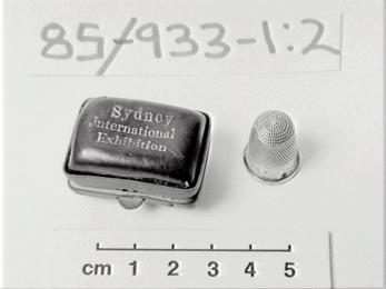 Silver pillbox and thimble from Sydney's Great Exhibition Australian pillboxes are so rare.
