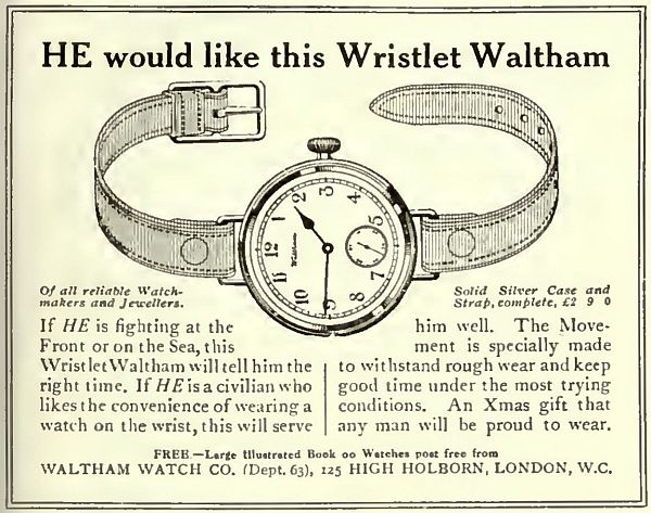 1914 Waltham wrist watch.