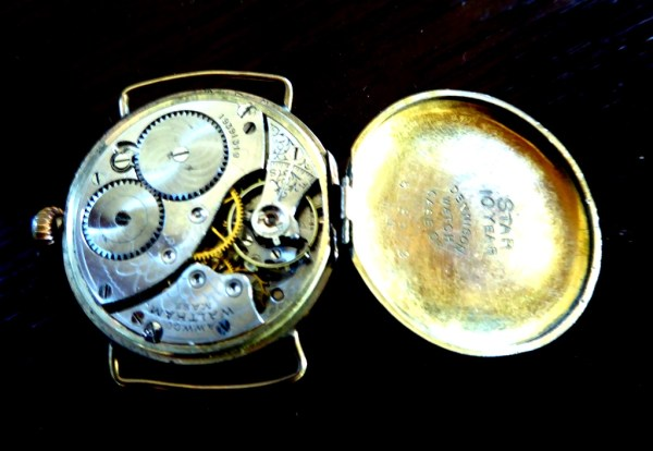 Waltham watch, reminiscent of a pocket watch.