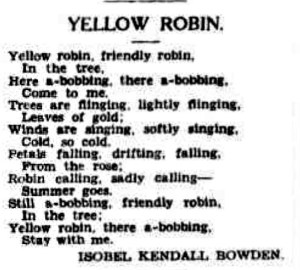 A poem of tribute to yellow robins.