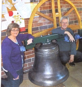 Chair of the bells committee Susan Stones, and the Reverend Ray Robinson.