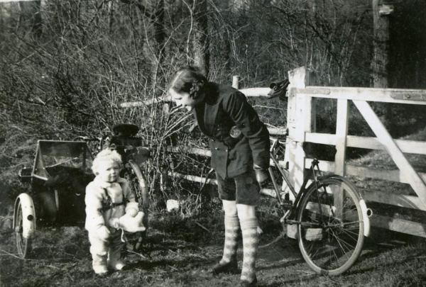 The  bicycle sidecar and a pair of striped stockings!