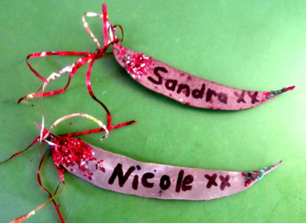 Gum leaf gift tags.