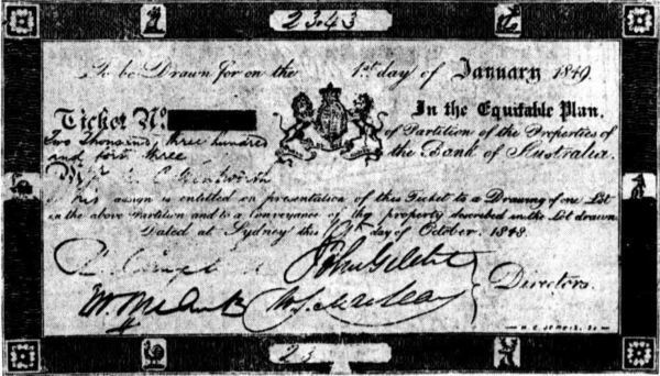 Bank lottery ticket, 1849
