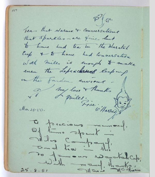Page from Miles Franklin's autograph book