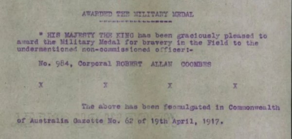 Robert Coombs won the Military Medal