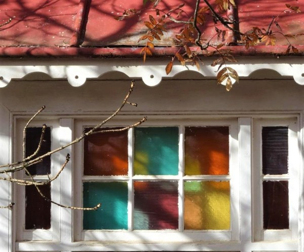 Coloured pnes of glass in a cottage at Blackheath NSW