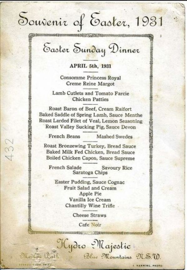 Hydro Majestic Easter Menu
