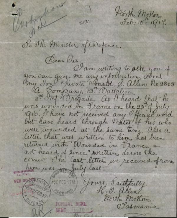 Letter to the Minister of Defence from Herbert Allen asking for information about his son Ronald.