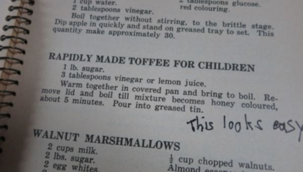 Recipe for hard  toffee, a best seller at the tuck shop.