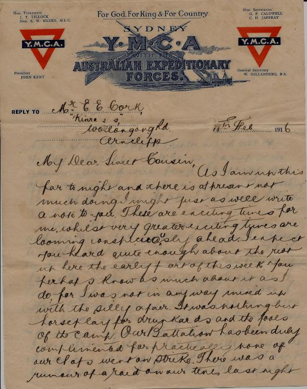 Letter we Sydney soldier's riot 1916