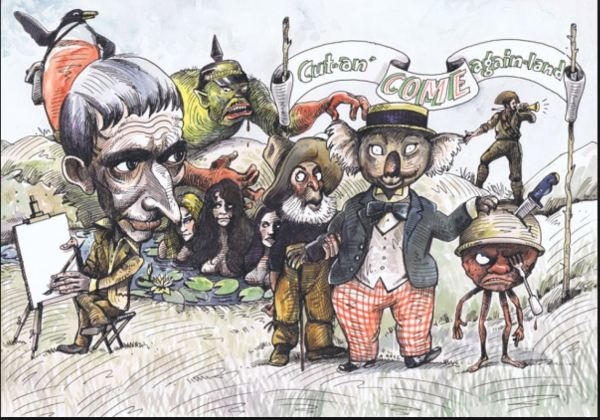 Norman lindsay and the Magic Pudding characters he created.