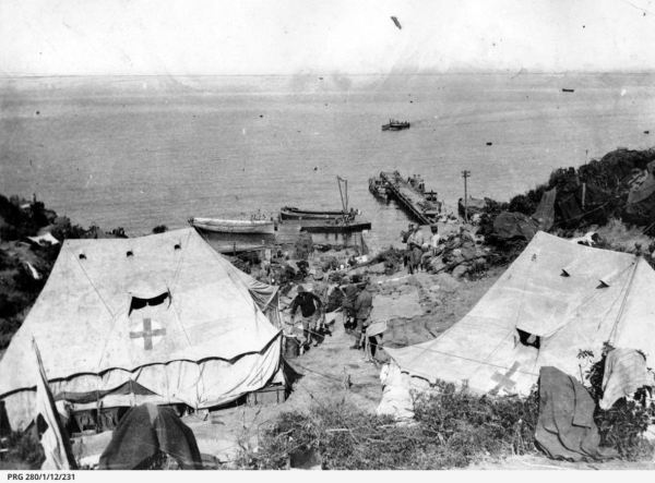 Medical tents on the beach at Anzac Cove