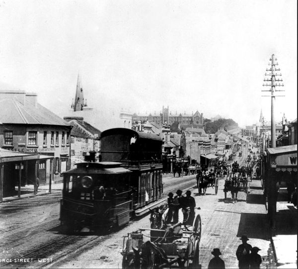 Steam tram in Sydney 1879