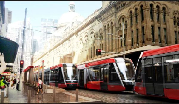 Artist's impression of new trams in George Street.