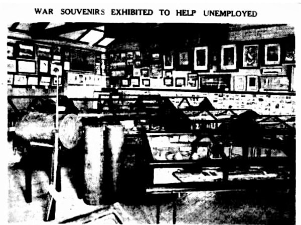 Exhibition of war souvenirs which included the portrait of Edith Cavell.