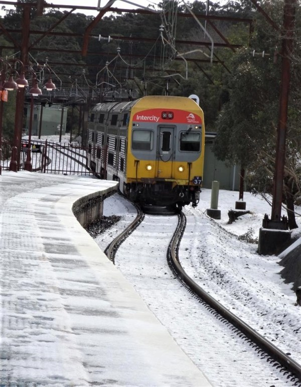 Blackheath railway station in the snow.