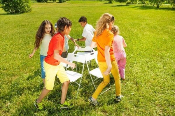Musical chairs at a birthday party.